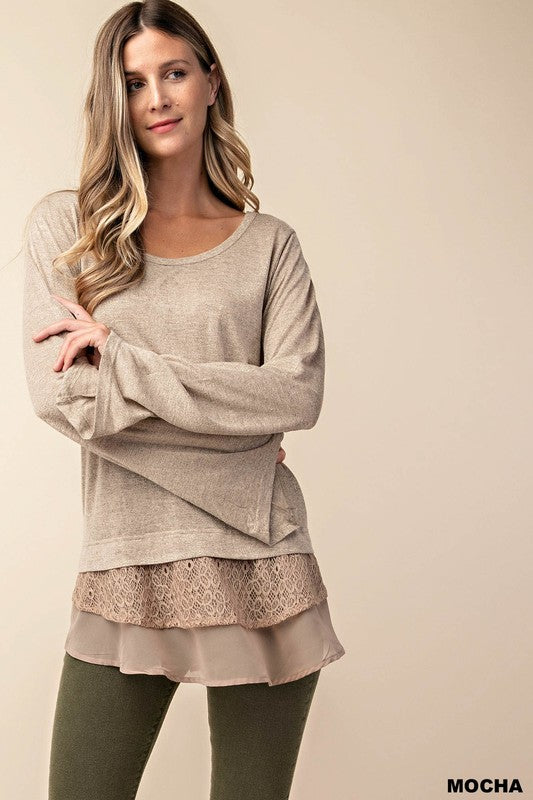 Long Sleeve With Contrast Lace And Chiffon Solid Top (S-L)