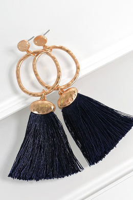 Hammered Ring and Fine Thread Tassel Earrings