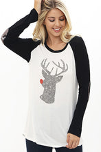 Load image into Gallery viewer, Rudolph Baseball Tee - Sequin elbow Patches! (S-XL)