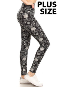 Flower Skull Print Leggings (Sizes 14 - 18/20)