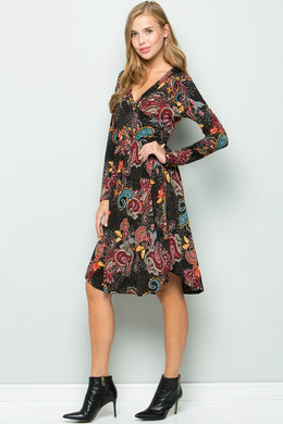 Paisley Print Swing Dress (S-XL)