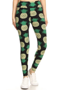 One Size Pineapple Print Yoga Leggings Full Buttery Soft