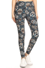 Load image into Gallery viewer, One Size Sugar Skull Print Yoga Leggings Full Buttery Soft