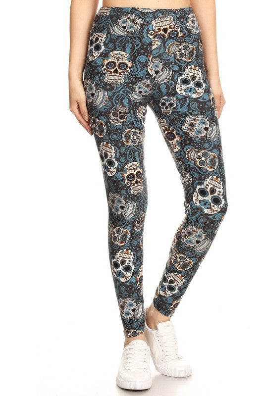 One Size Sugar Skull Print Yoga Leggings Full Buttery Soft