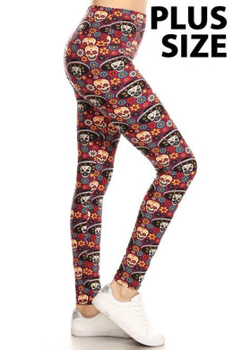 Sugar Skull Print Yoga Leggings (Sizes 14 - 18/20)