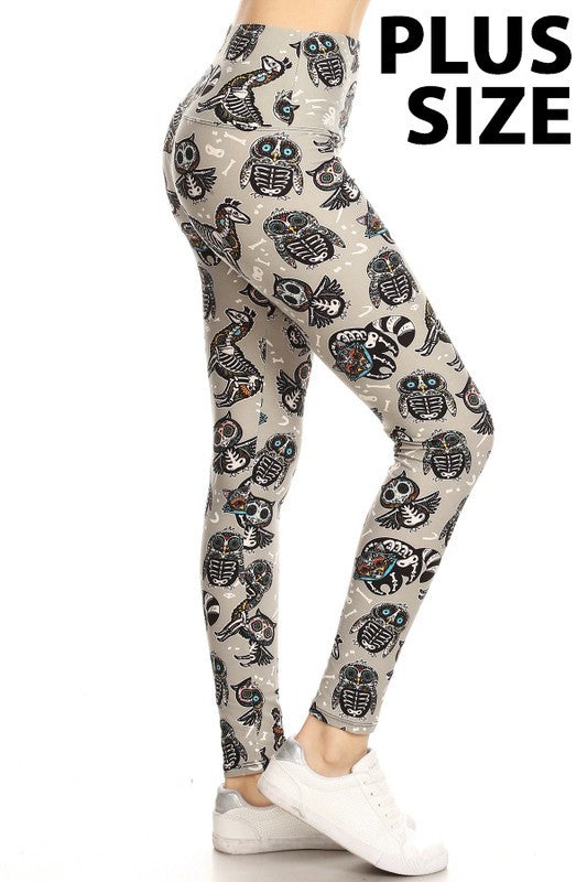 Owl Skeleton Print Leggings (Sizes 14 - 18/20)