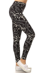 One Size Music Note Print Yoga Leggings Full Buttery Soft