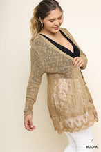 Load image into Gallery viewer, Light Cardigan with Ruffled Lace Hemline (XL-3X)