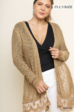 Light Cardigan with Ruffled Lace Hemline (XL-3X)