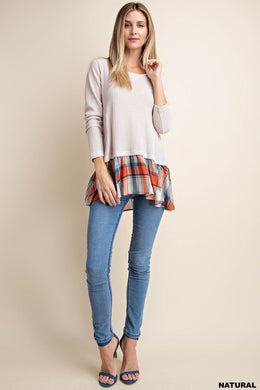 Long Sleeve Contrast Plaid Knit Top (S-L)