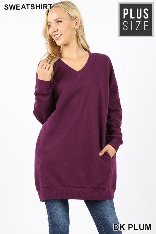 Premium Oversized Tunic Pocket Sweatshirt (1X - 3X)