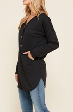 Load image into Gallery viewer, LONG SLEEVE Button Detail TUNIC TOP (XL-3XL)