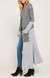LONG SOLID/CONTRAST CARDIGAN (S-3XL)
