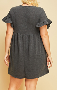 Scoop neck sweater dress (XL-2XL)