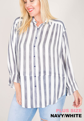 Stripe Button-Down Shirt (XL-2XL)