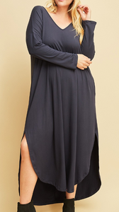 Buttery soft long Sleeve Maxi Dress (XL-2XL)