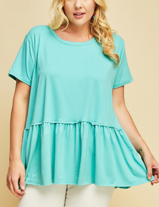 Solid Peplum Buttery Soft Top (XL-3XL)