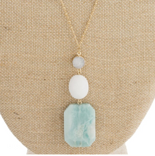 Load image into Gallery viewer, Natural Stone gold-tone necklace