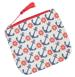 Anchor Print Makeup/Accessories Bag