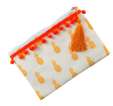 Pineapple Print Makeup/Accessories Bag