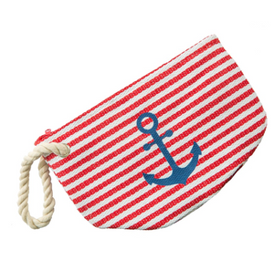 Rope Handle, Anchor Print Makeup/Accessories Bag