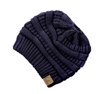 Load image into Gallery viewer, CC Messy Bun Knit Hat - Adult