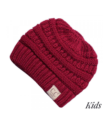 CC Messy Bun Knit Hat - Kids