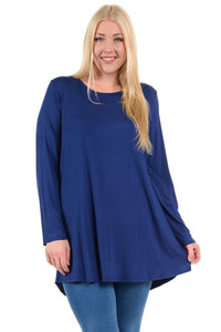 SOLID KNIT TOP TUNIC LONG SLEEVE (XL-3XL)
