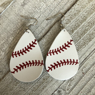 Leather Baseball novelty earrings