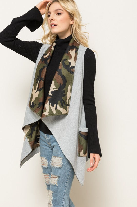 Draped Camo Vest With Pockets (S-L)