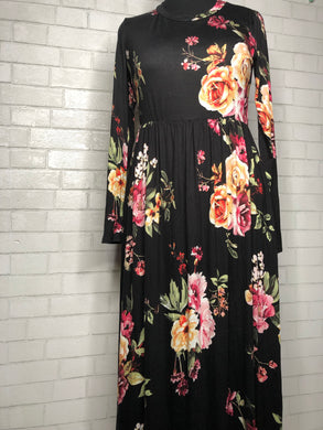 Round Neck Long Sleeve Floral Print Maxi (XL-3XL)