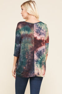 Teal/Brown Tie Dye Tunic Top (1XL-3XL)