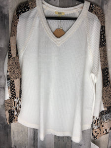 Waffle Knit Printed V-neck (S-L)