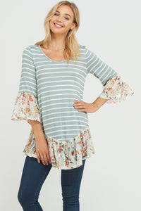 STRIPED TOP WITH MESH CONTRAST (S-L)