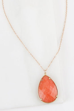 Natural Stone Pendant Necklace - Peach