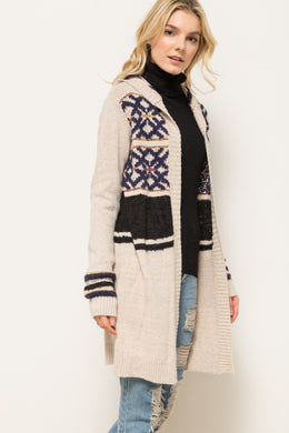 Dream Hooded Cardigan - Beige & Navy