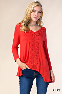 Long Sleeve Applique Detail Blouse (SM-L)