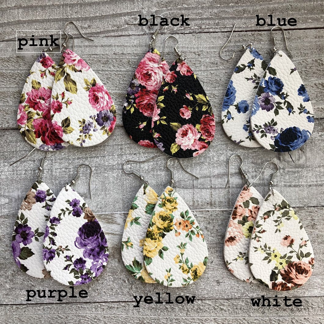 Leather floral print novelty earrings
