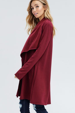 Brushed Cardigan - Ruby
