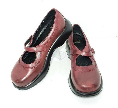 Dansko Mary Jane Red Leather Women Clogs/Mules Size EUR 42  US 11.5