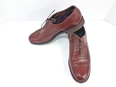 Vintage American Gentleman Brown Leather Wing Tips Men Oxfords Size 10D