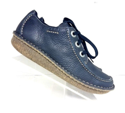 Clarks Funny Dream Comfort Blue Leather Women Fashion Casual Shoes Size 9