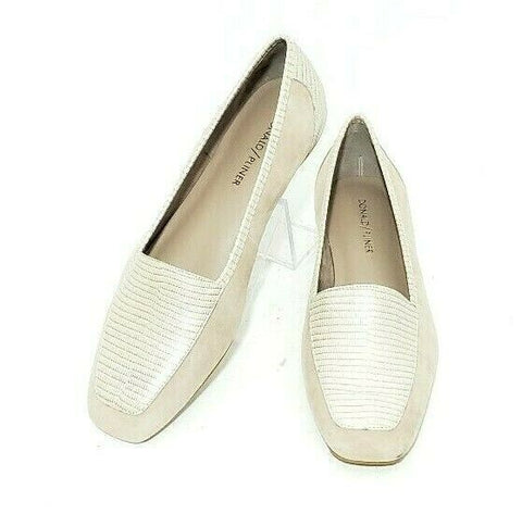 Donald J Pliner Deedee Slip On Loafer Flat Leather Snake Embossed Print Size 8