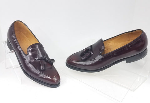 Johnson & Murphy Brown Burgundy Aristocraft Men Loafers w/ Tassels Size 9