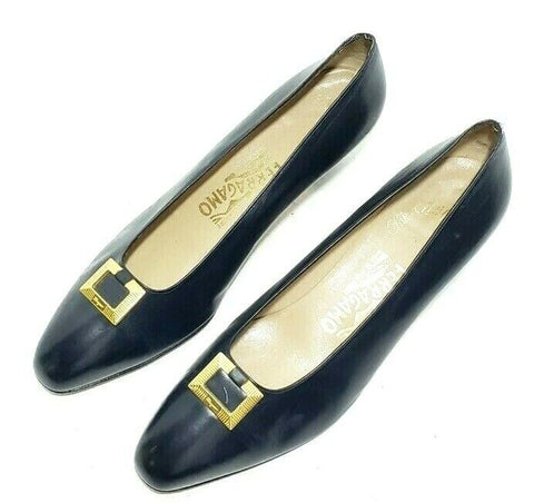 Salvatore Ferragamo Women Heels/Pumps 10B Navy Blue Classic Gold Buckle