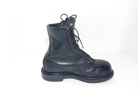 Red Wing Black Leather Zip Steel Toe Men Occupational Shoes/Boots Military Size 6.5 D