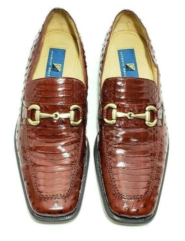 Giorgio Brutini Mens Loafers Snakeskin Horsebit Size 8M Slip On Square Toe