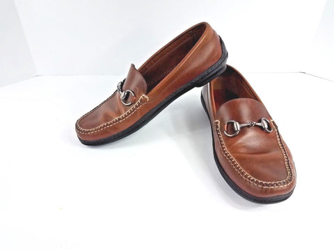 Peter Millar Horse Bit Brown Leather Driving Moccasins Men Loafers 8M