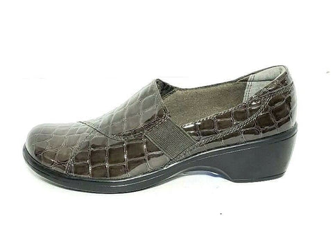 Clarks Bendables Croc Print Gray Patent Leather Women Fashion Casual Shoes Size 6.5M