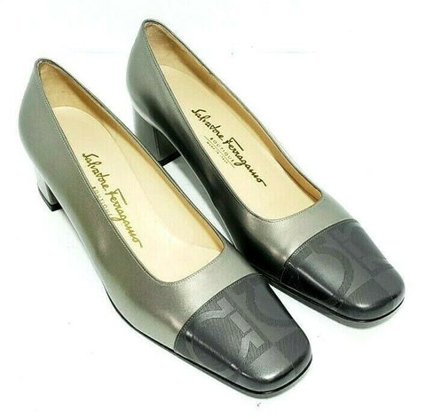 Salvatore Ferragamo Boutique Women Heels/Pumps Block Heels Gray Cap Toe Size 9 C